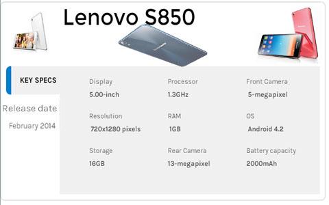 Spesifikasi Lenovo S850